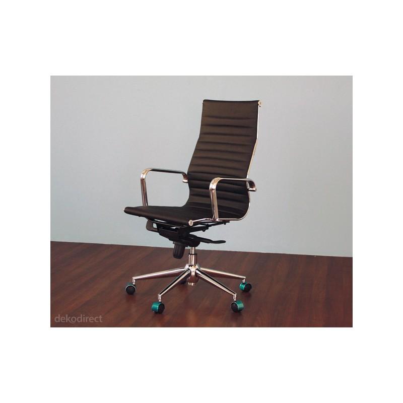 Silla de oficina Eames Aluminium 119A alta similpiel blanca