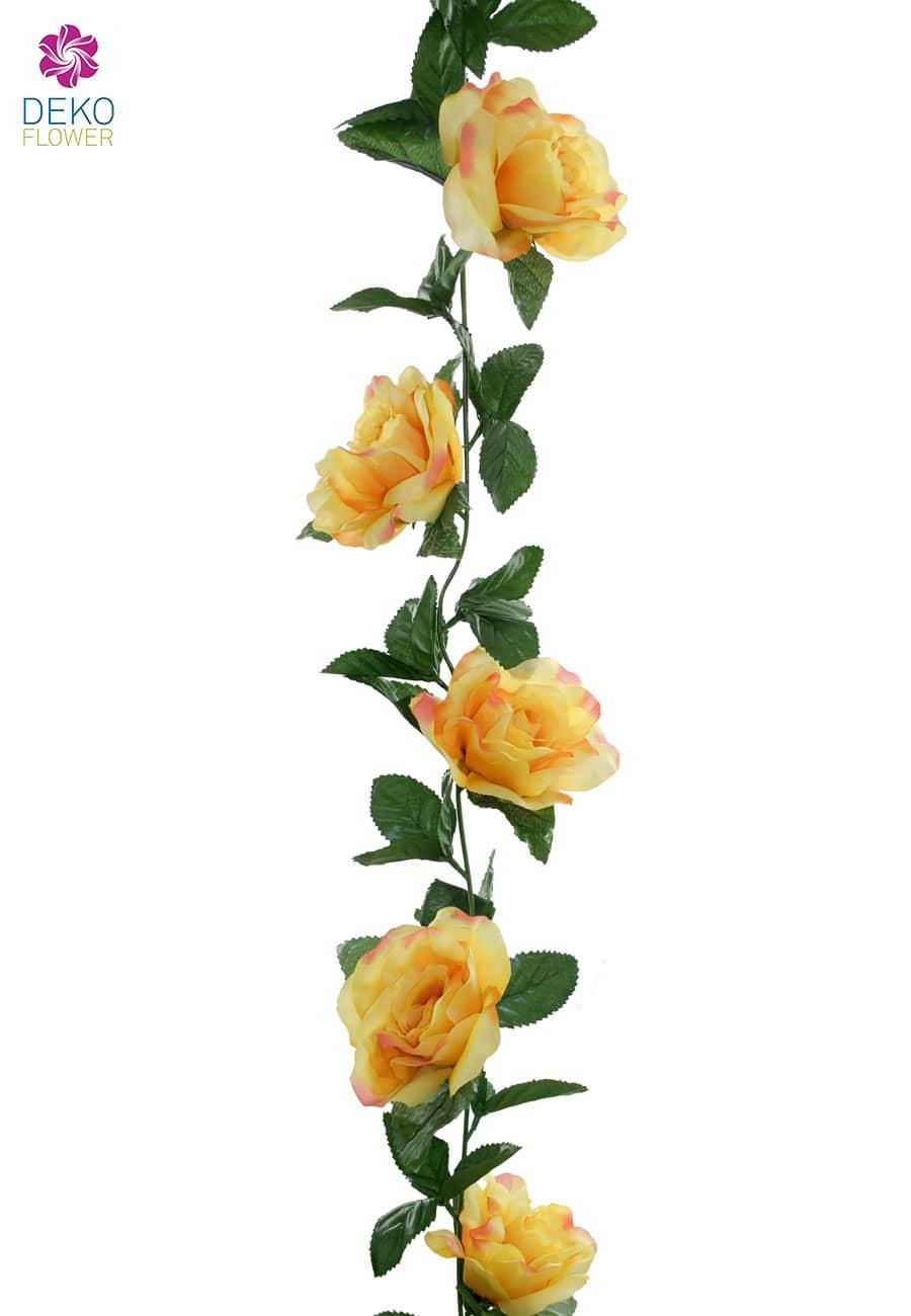 Knstliche Rosengirlande gelb 180 cm