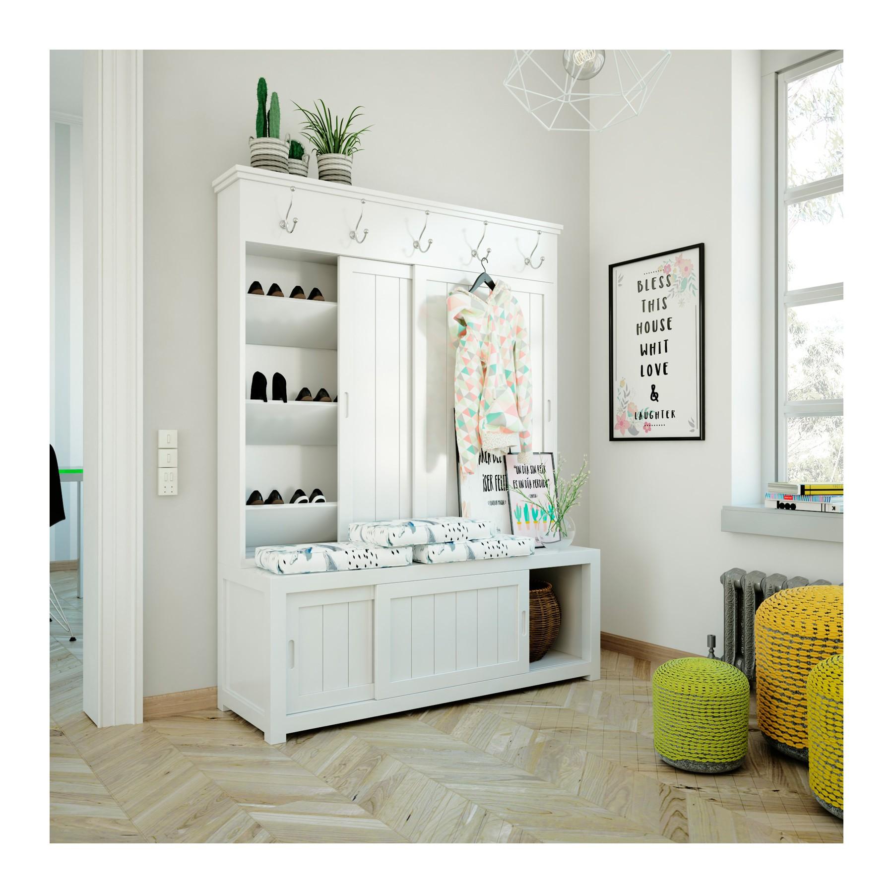 Mueble recibidor vestidor con perchero y zapatero