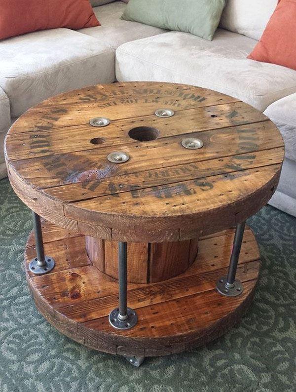 round card table and chairs for vanity ahşap makara kullanılarak tasarlanmış mobilyalar - dekoloji ev dekorasyon fikirleri blogu