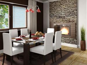 wohn esszimmer gestaltung mit esszimmer massiv und natursteinwand, Moderne deko