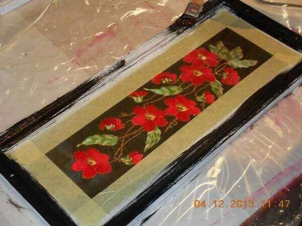 eski resim çerçevesinden tepsi yapımı