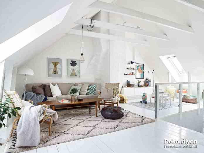 Tavan arası dekorasyonu için uygun renkler
