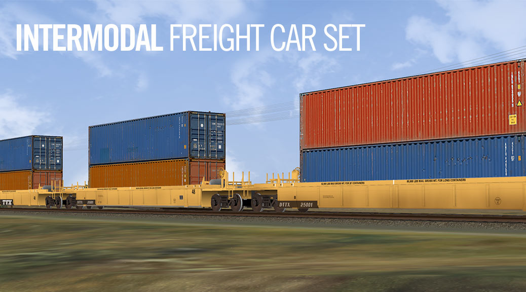 Free intermodal freight car set