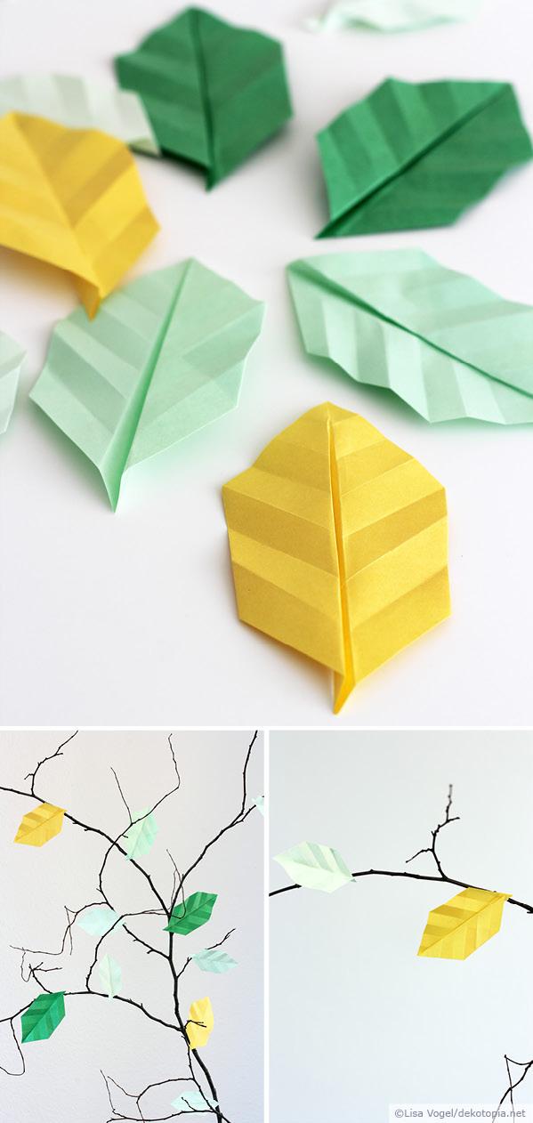 Origami bl tter dekotopia for Bastelanleitung baum aus papier