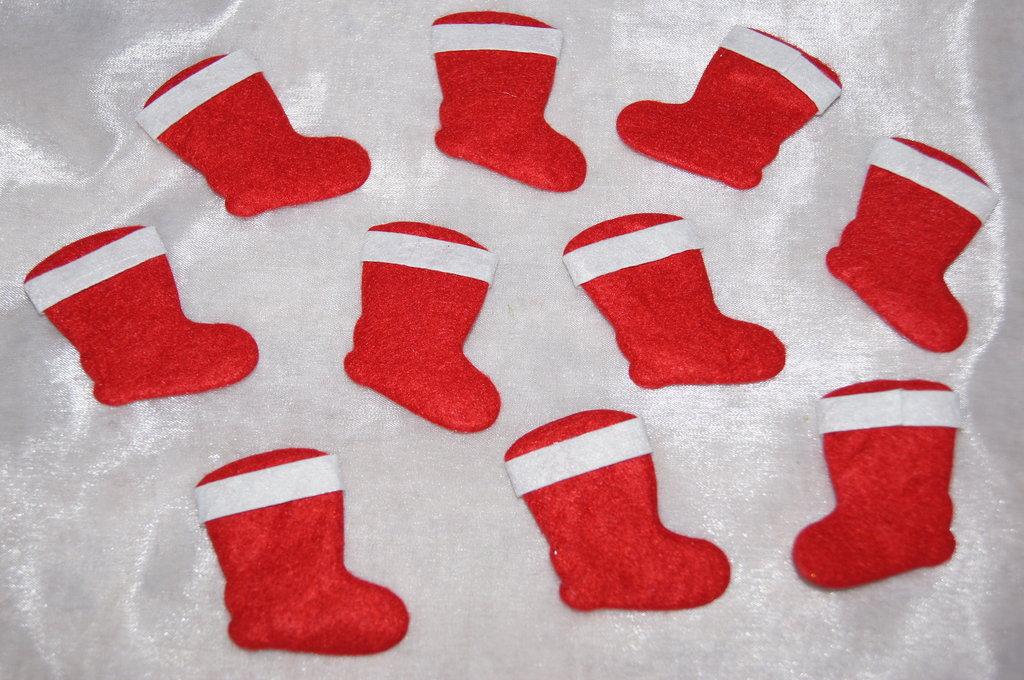 Nikolausstiefel Filz rot wei1  Tischdeko Weihnachten