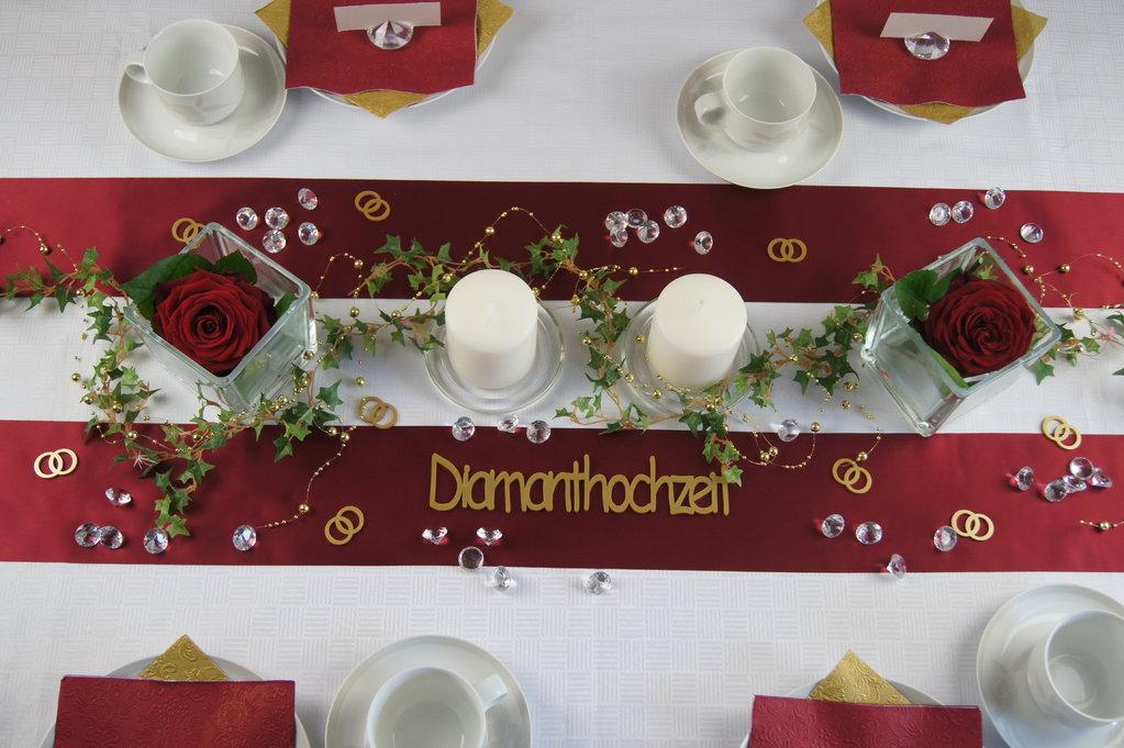 Tischdeko Diamanthochzeit bordeaux  Tischdeko Hochzeit