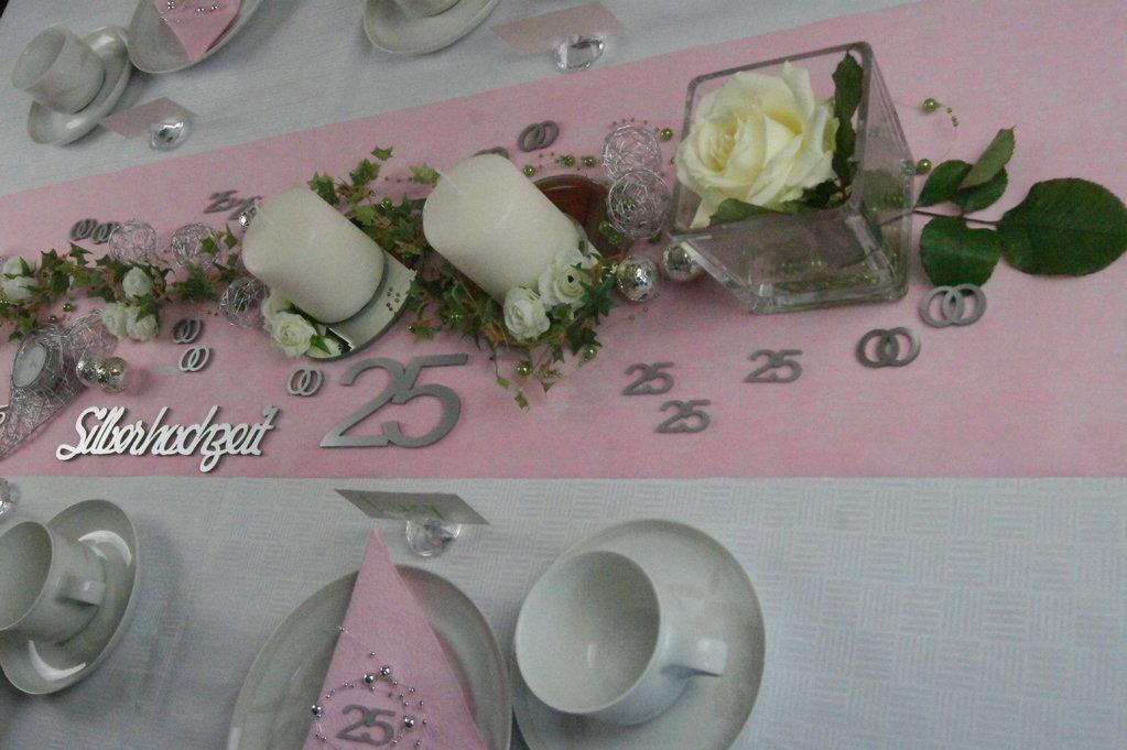 Tischdeko Silberhochzeit 1  Tischdeko Silberhochzeit Shop