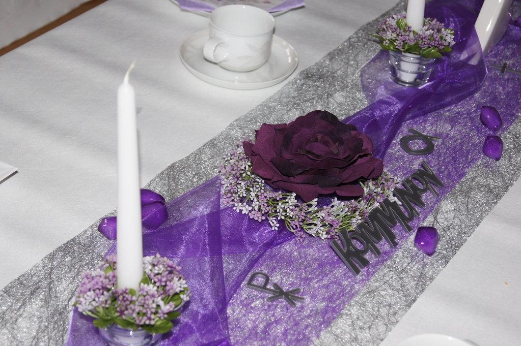 Tischdeko Kommunion lila  Tischdeko Kommunion