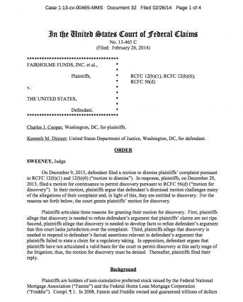 Rechtszaak van hedgefund managers en aandeelhouders tegen de Amerikaanse overheid vanwege de bailout overeenkomst die door Treasery Department is afgesloten