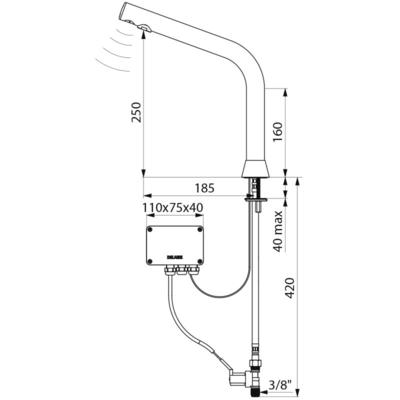 Torneira eletrónica BINOPTIC corrente H. 250 mm (ref