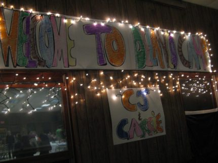 The dining hall was decorated to welcome CJ and Carrie Caufield, our new year-round residents.