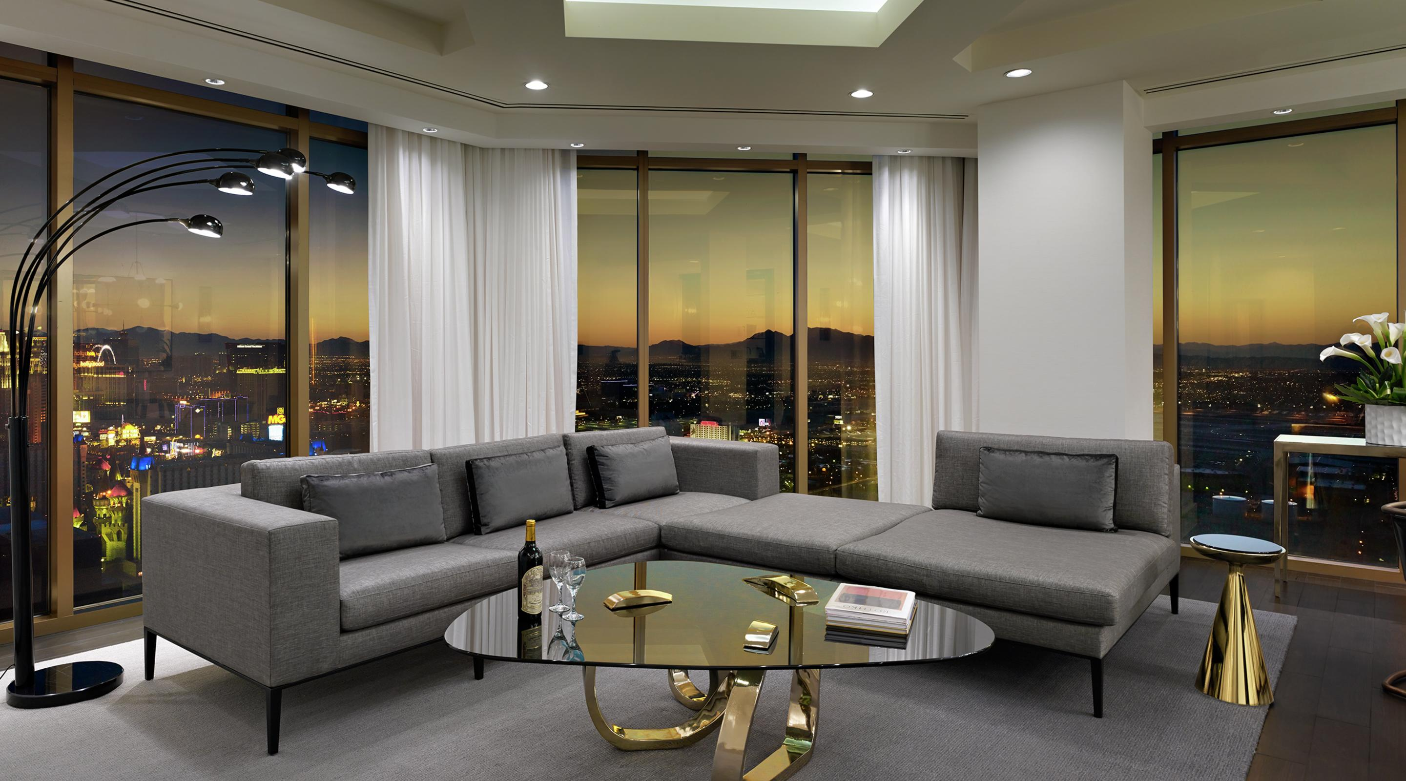 hotel with living room white ceiling fan penthouse superior suite delano las vegas