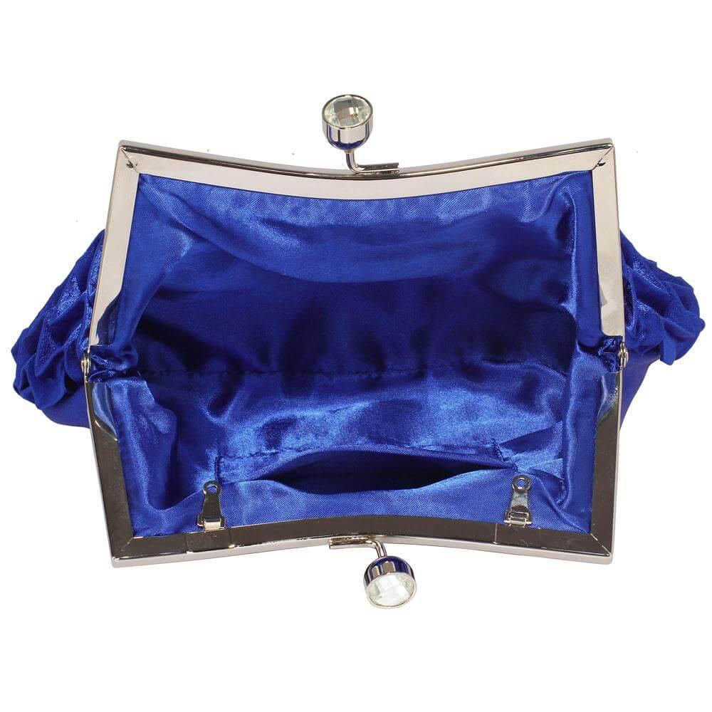 LSE00193  Rouched Satin Clutch Bag  De Lavish