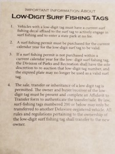 The rules about your new numbered Delaware Surf Fishing tag.