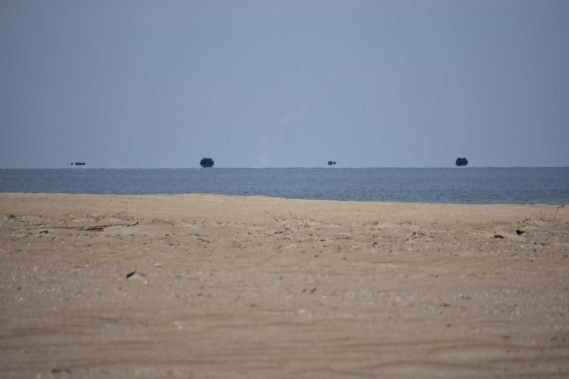 fata morgana, mirages on the water, floating ships, delaware, cape henlopen state park, the point, the haystacks
