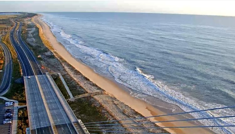 Looking at north side beach and Faithful Steward drive on beach in Delaware Seashore state park ..  deldot north tower web cam