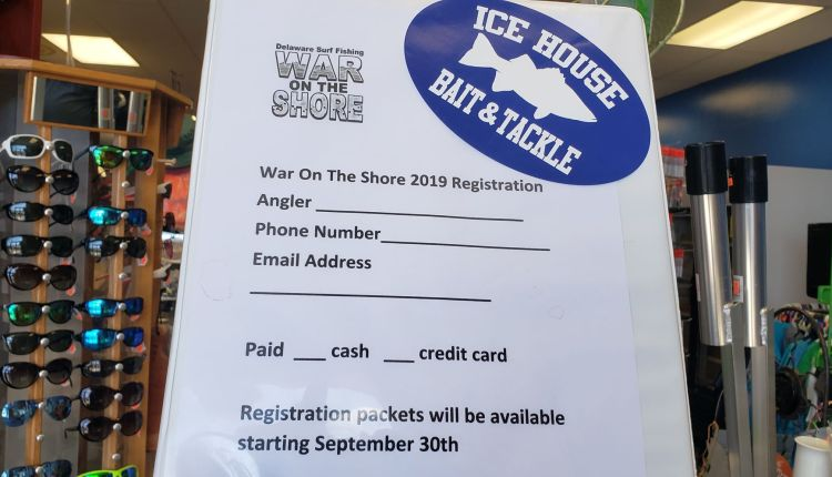 War On The Shore 2019 sign up sheet at Icehouse Bait and Tackle