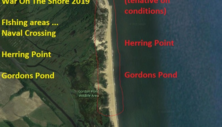 War On The Shore 2019 fishing areas.