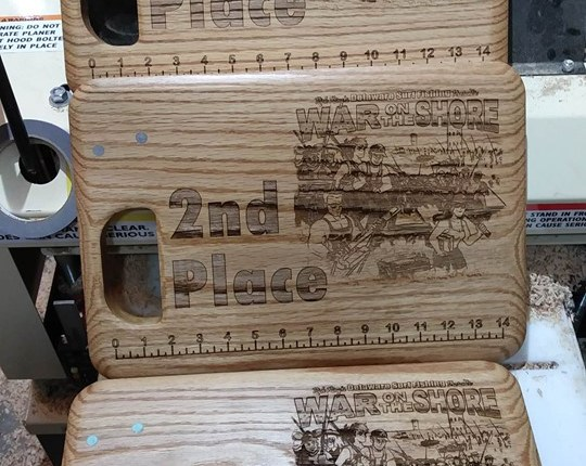 War On The Shore Trophy Bait Boards made by Frets 4 Vets founder Tom Baker