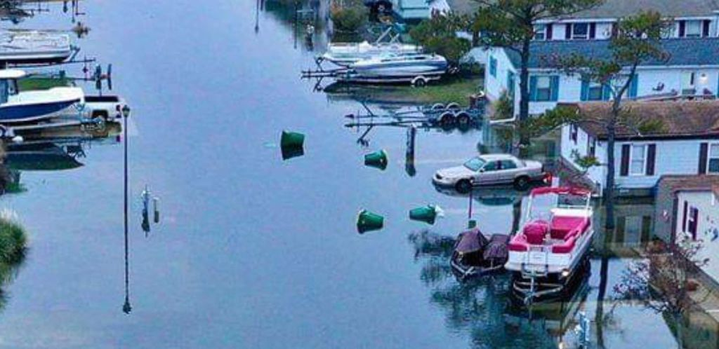 coastal flooding, pollution, flood zone, recycling containers, inland bays, mariners cove