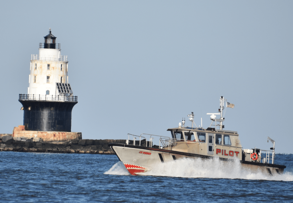 pilot boat, river pilot, harbor of refuge lighthouse, the point, cape henlpen state park, cape may lewes ferry, anchorage, shipping channel, delaware bay launch service