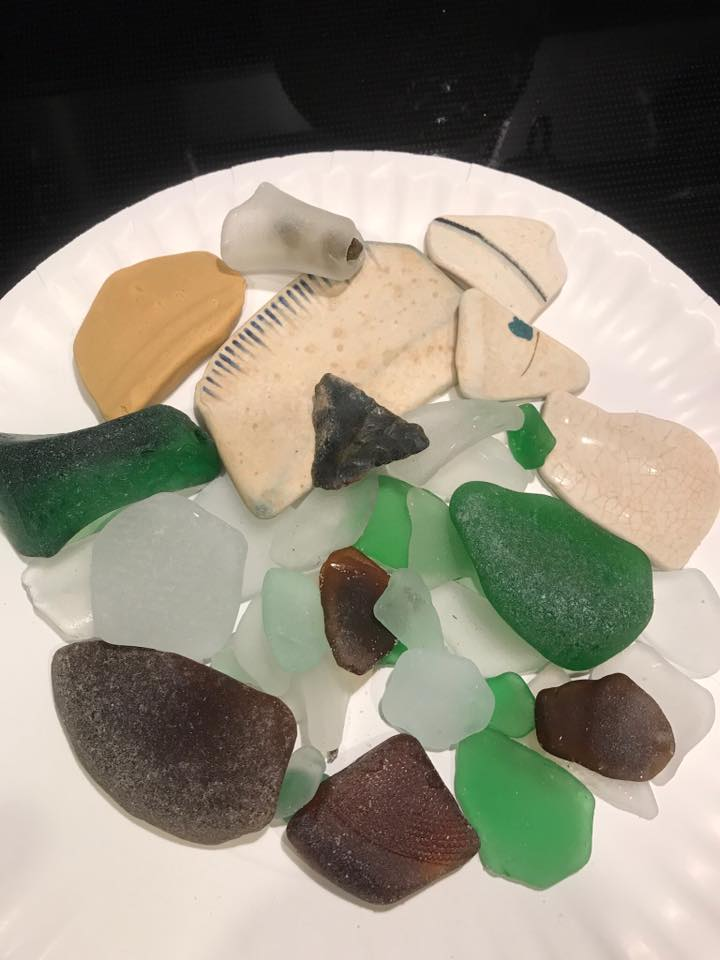sea glass, pottery pieces, delaware beaches, delaware surf fishing, delaware state parks, sussex county