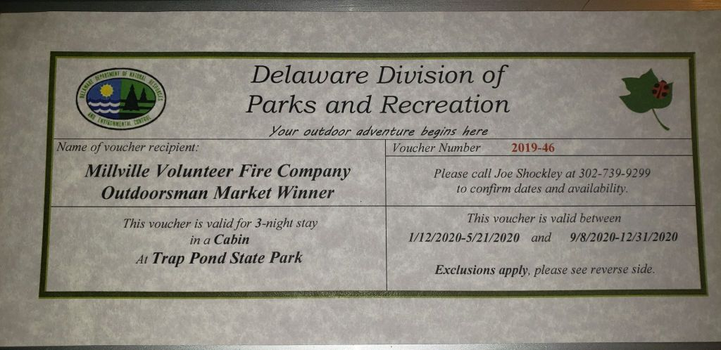 delaware state parks, millville fire company outdoorsman marketplace