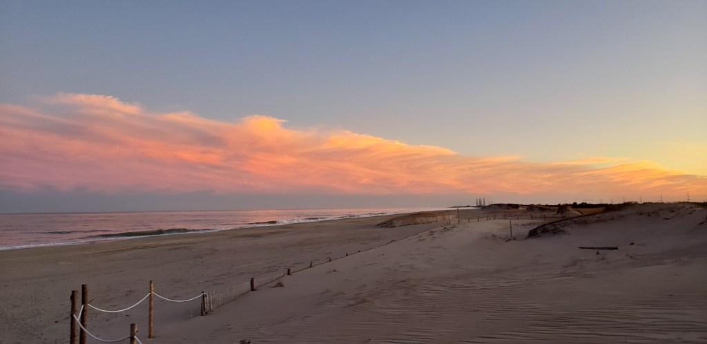 sunset, delaware beaches, delaware surf fishing