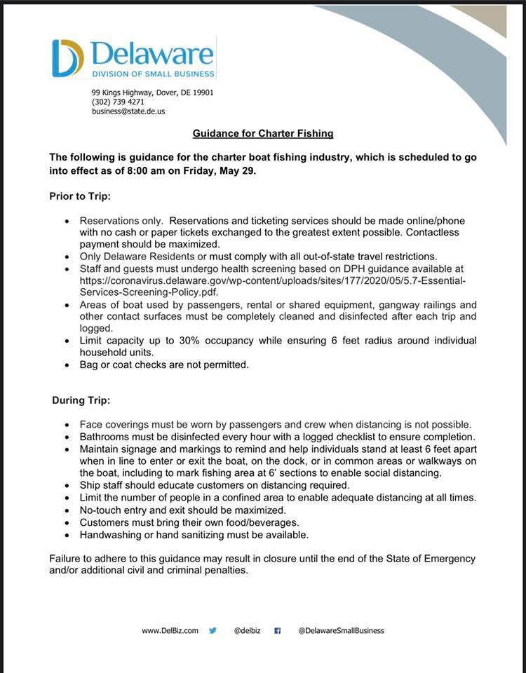 delware charter boats, covid operations guidelines