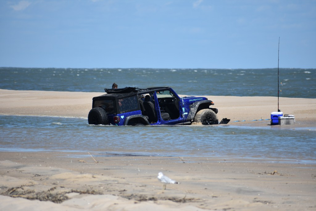 its a jeep thing, swales, tide pools, delaware seashore state park, delaware surf fishing, flooded beaches, faithful steward, savages ditch
