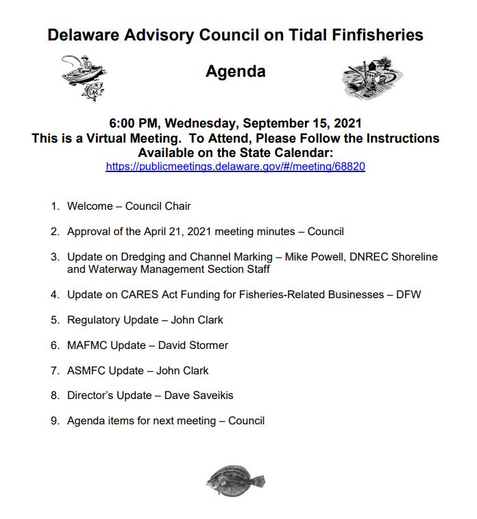 Delaware Advisory Council on Tidal Finfisheries Agenda