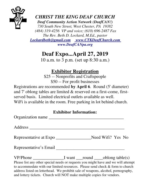 Deaf Expo 2010 Booth Registration Form