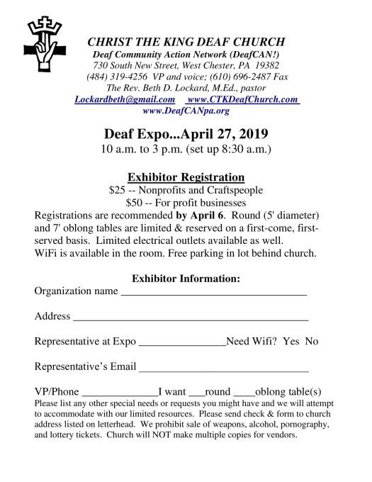 Deaf Expo 2010 Booth Registration Form