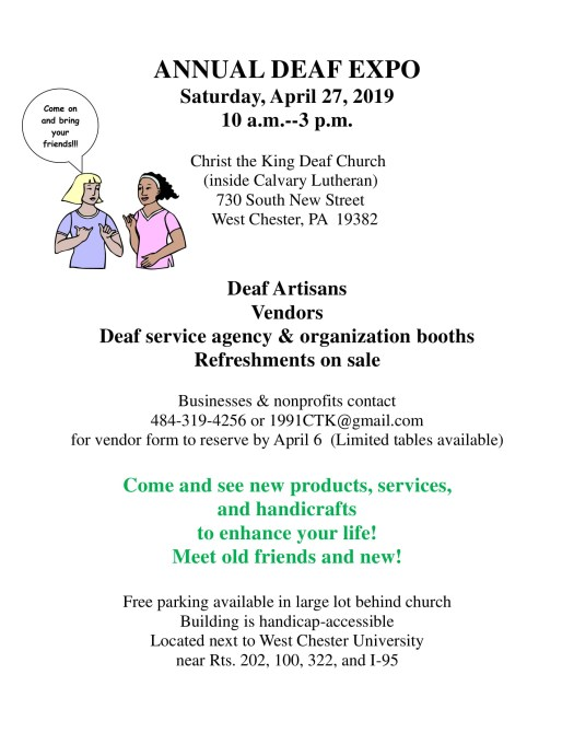 April 27, 2019 10a-3p at Christ the King Deaf Church