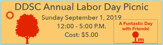 DDSC Annual Labor Day Picnic at the John West Park, Sunday September 1, 2019 12:00 - 5:00 P.M. Cost: $5.00