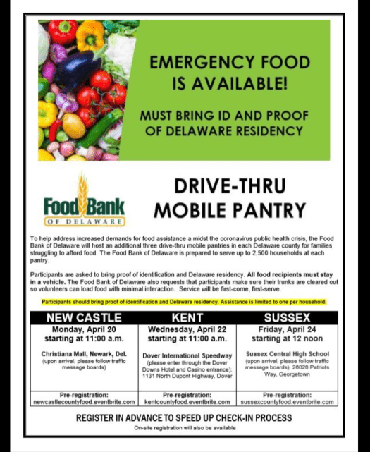 Food Distribution in all 3 counties if needed, April 2020