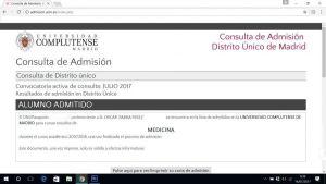 Admitido en Medicina en la UCM.