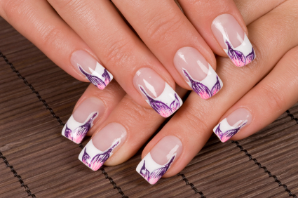 One Finger Nail Fl Print Cute White French Art Designs Collection