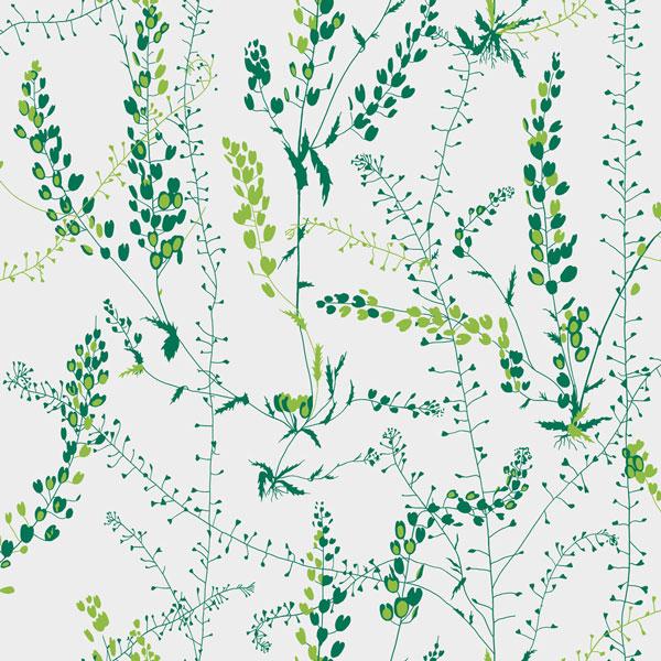 Papel pintado Blandranker en color verde de la colección Scandinavian Designers II de Borastapeter