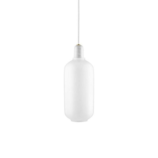 Lampara AMP large de Normann Copenhagen con casquillo en mármol blanco y tulipa de cristal blanco