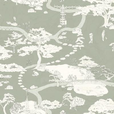 papel pintado Kenrokuen en verde