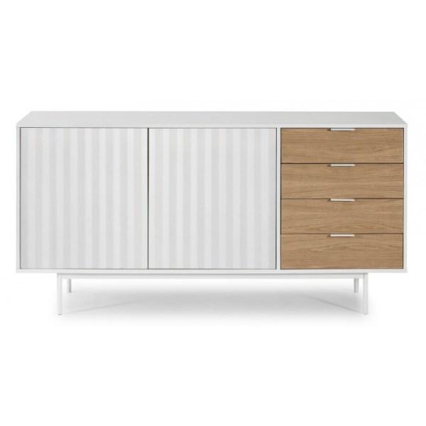 aparador con puertas y cajones en blanco y madera