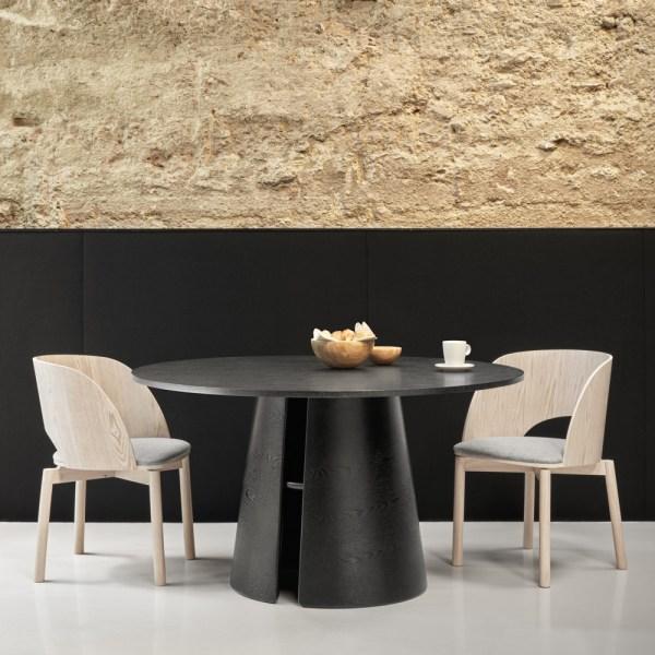 mesa redonda cep en fresno negro
