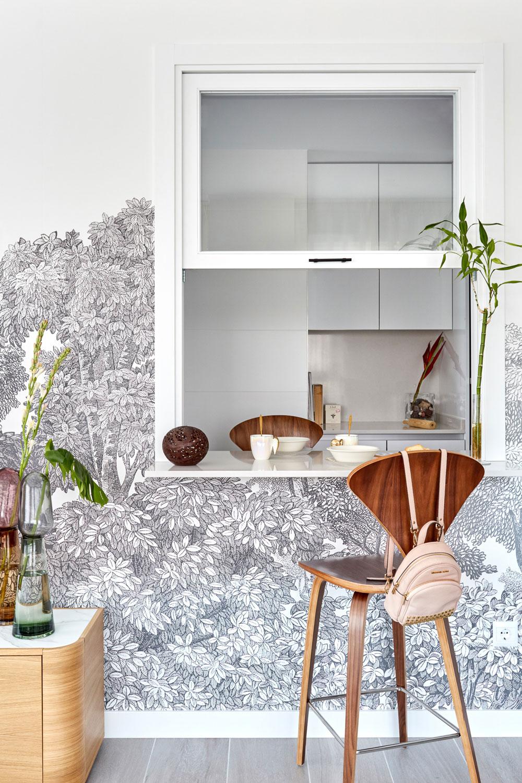 Diseño ventana de guillotina entre cocina y salón