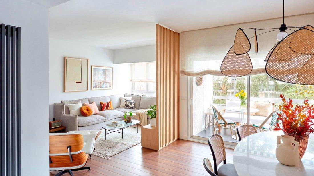 diseño de interiores de un salón comedor en Majadahonda con muebles a medida