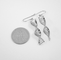 DNA silver earrings - Delftia science jewelry