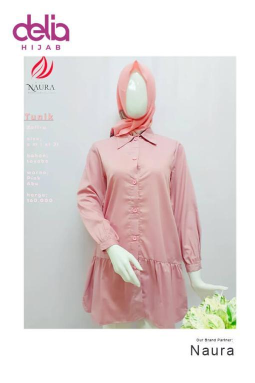 Baju Modern Masa Kini - Tunik Naura Zarifah - Delia Hijab - Pink