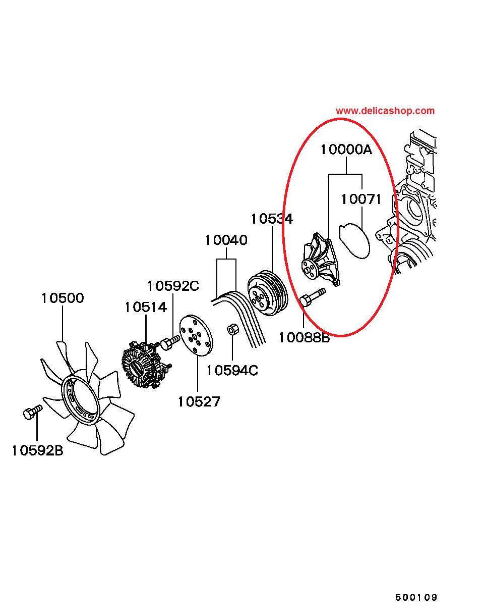 medium resolution of l400 4m40 water pump diagram