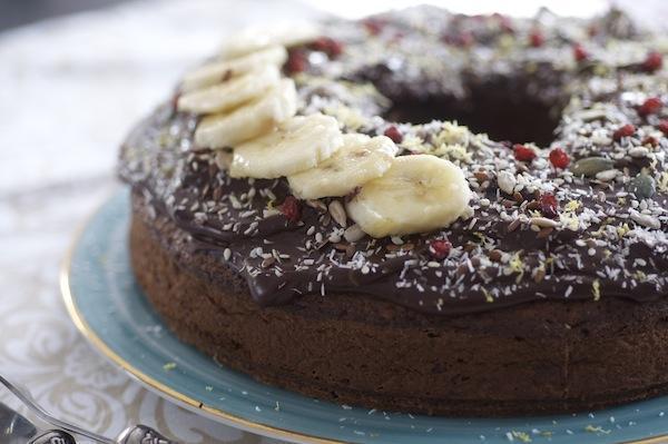 prajitura cu banane si ganache de ciocolata